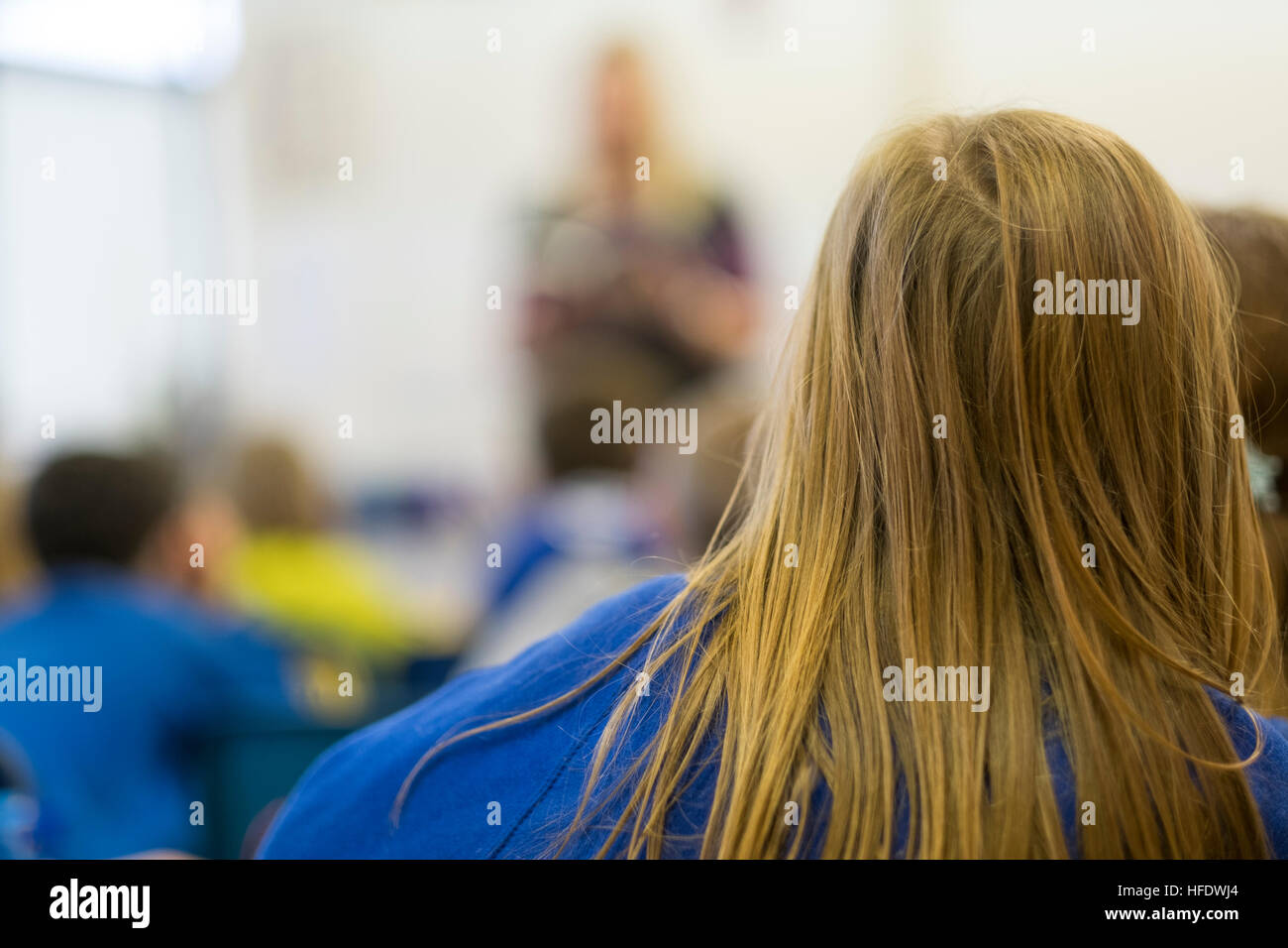 Primary School Education in Wales: Children in a primary school class classroom lesson, Wales UK - Stock Image