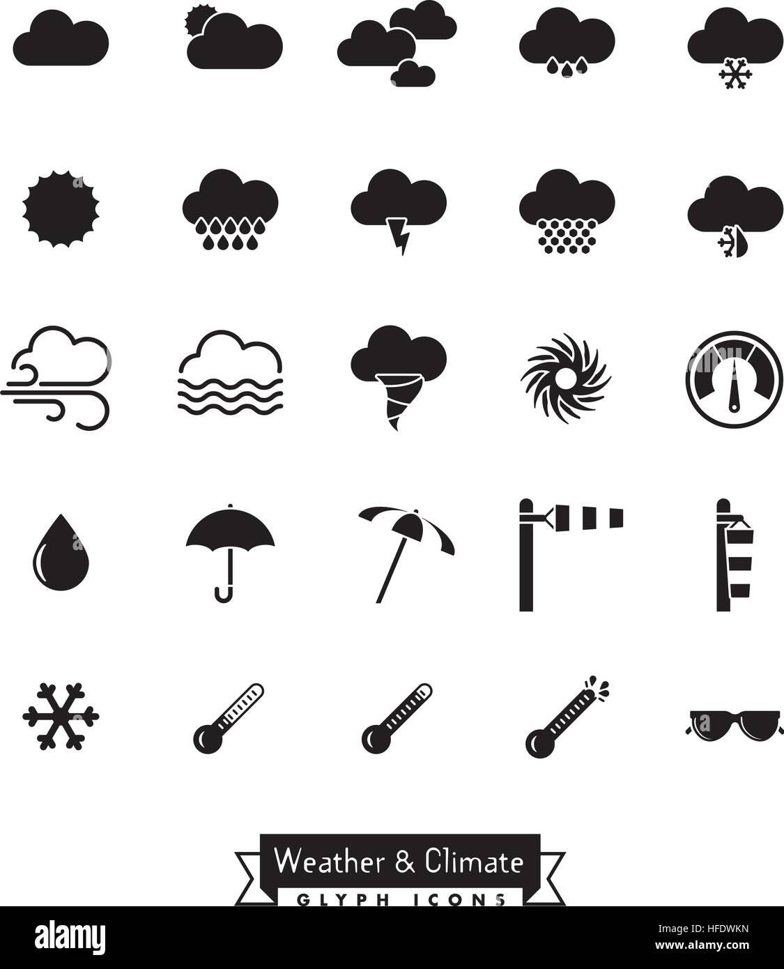 Collection of weather, climate and meteorology related vector icons - Stock Vector