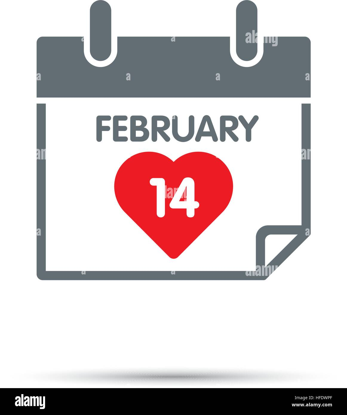 Calendar Icon For Valentines Day Red Heart And Date Of 14th Of