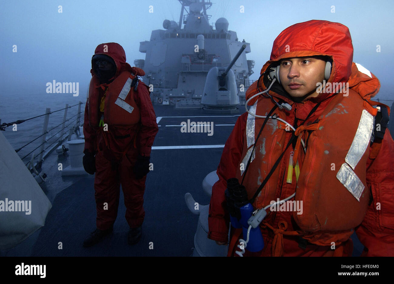 040612-N-3642E-003 Baltic Sea (June 12, 2004) - Personnelman 3rd Class Denzel Christopher, left, from New York City, Stock Photo