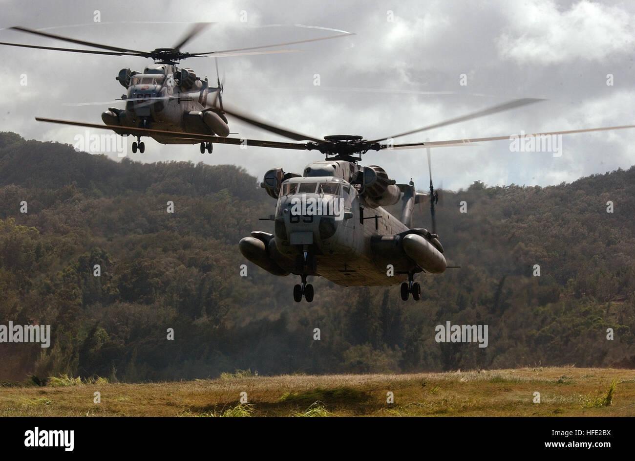 0407017-N-6932B-203 Kahuku Training Area Oahu, Hawaii (July 17, 2004) - CH-53D Sea Stallion helicopters assigned Stock Photo