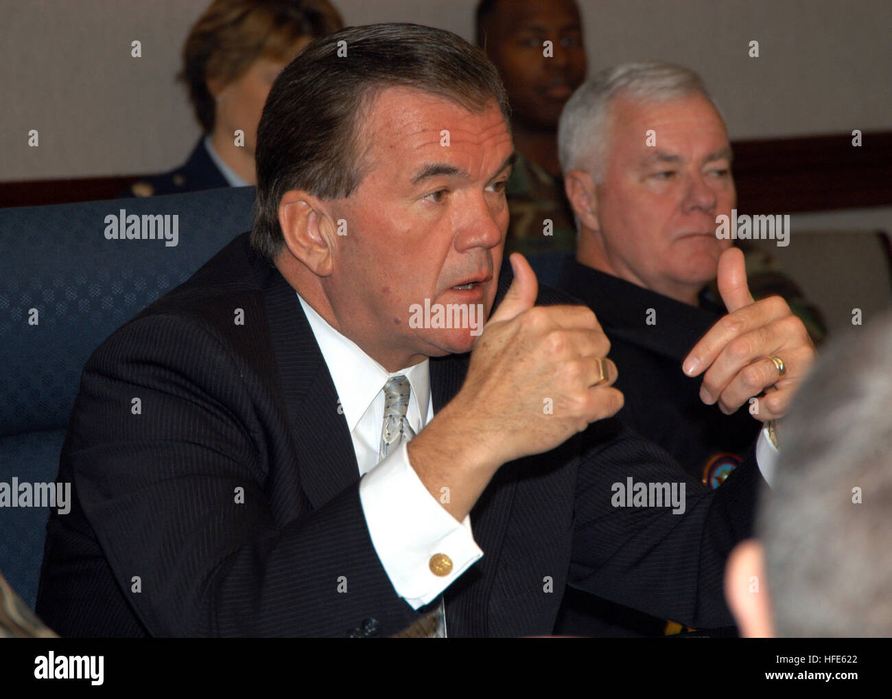041117-N-2227W-005 Peterson Air Force Base, Colo. (Nov. 17, 2004) - Secretary of Homeland Security Tom Ridge discusses - Stock Image