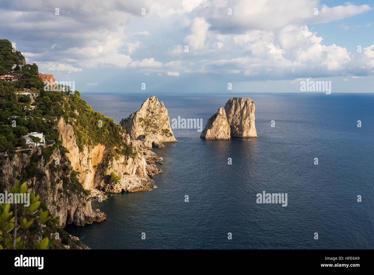 Faraglioni - three famous rocks, Capri, Italy - Stock Image