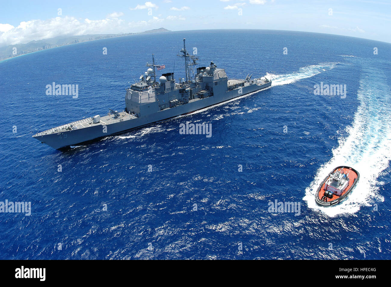 050415-N-8157F-036 Pearl Harbor, Hawaii (April 15, 2005)- The guided-missile cruiser USS Vincennes (CG 49) heads - Stock Image