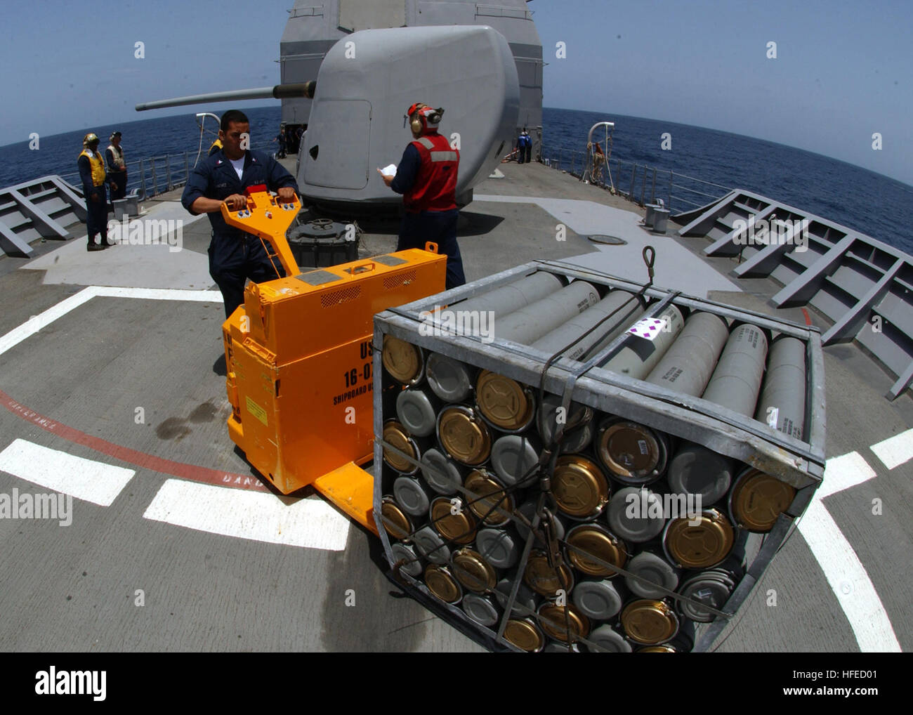 050514-N-5526M-009 Gulf of Aden (May 14, 2005) - Gunners Mate 2nd Class Jose Sanchez assigned to Weapons Department - Stock Image