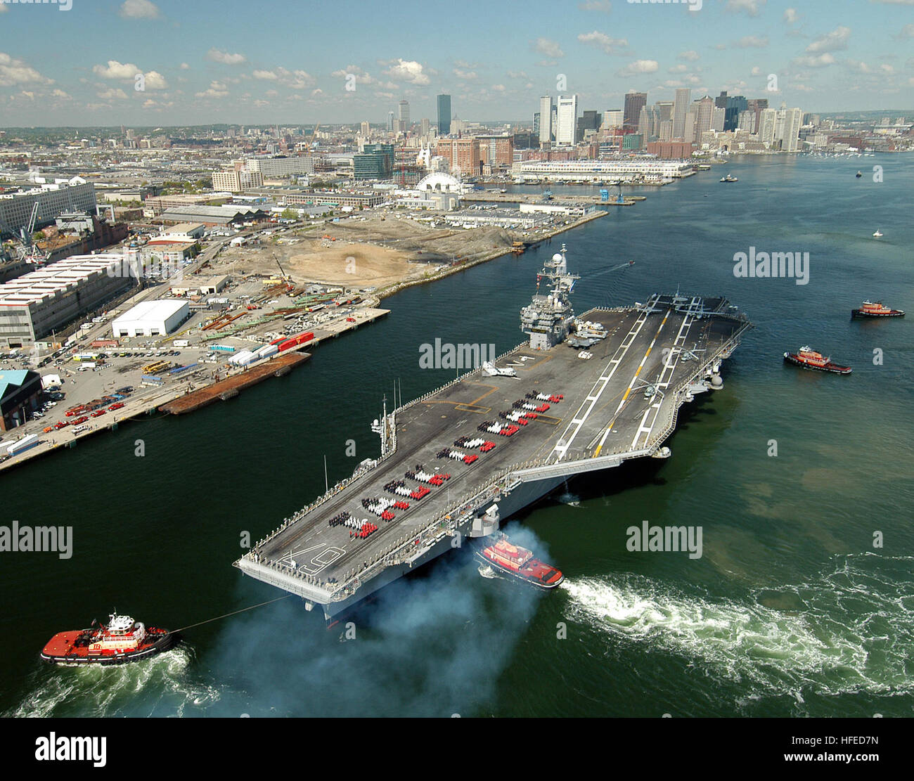 050519-N-8704K-001 Boston, Mass. (May 19, 2005) Ð The conventionally powered aircraft carrier USS John F. Kennedy Stock Photo