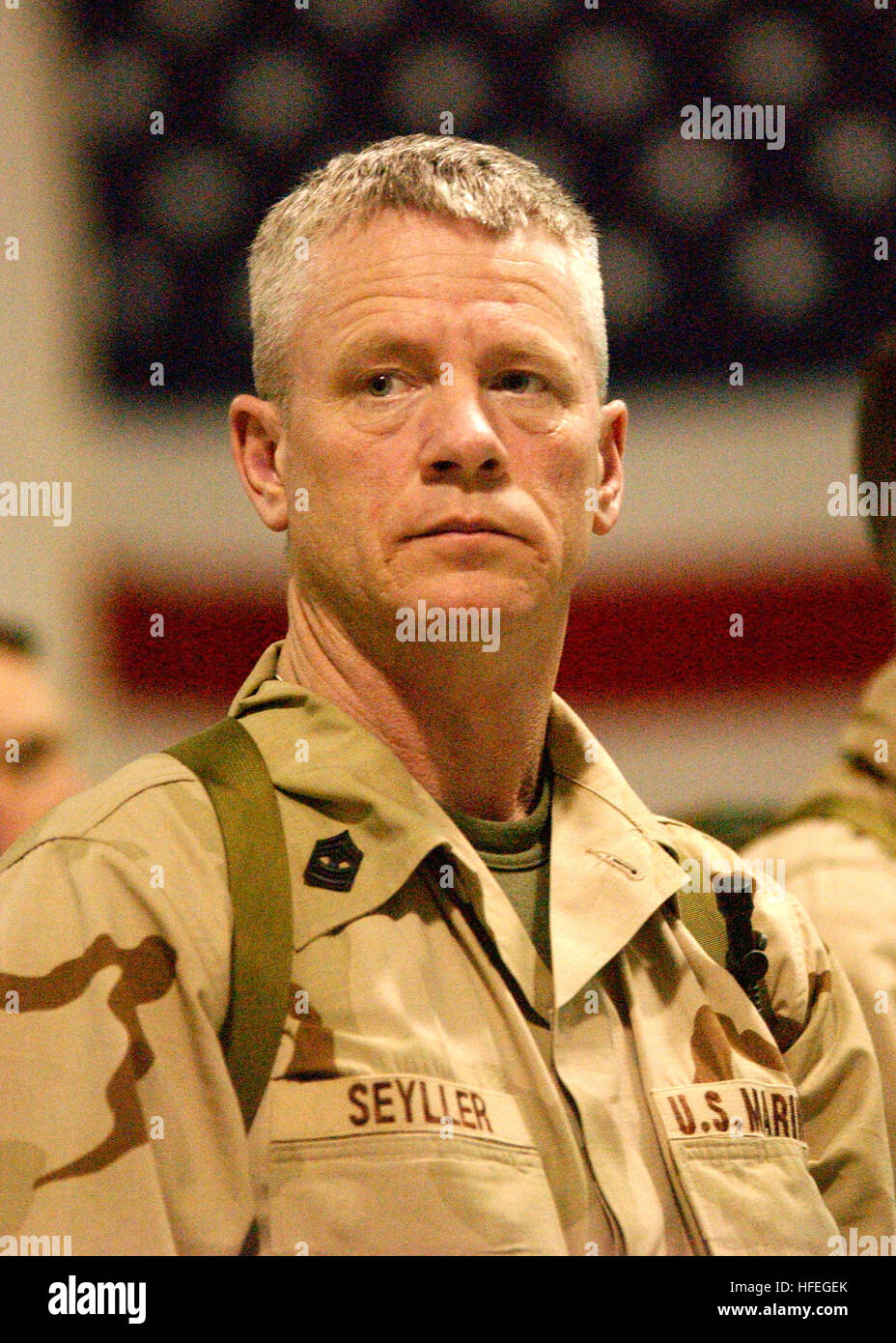030313-N-5576W-007     Milwaukee, Wis. (Mar. 13, 2003) Ð U.S. Marine Reservist Master Gunnery Sgt. Steve Seyller - Stock Image