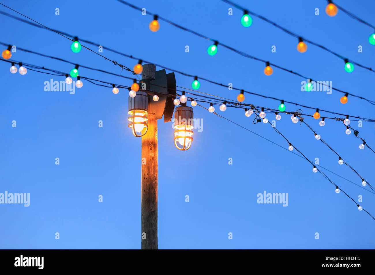 Christmas lights at The Forks, Winnipeg, Manitoba, Canada. Stock Photo