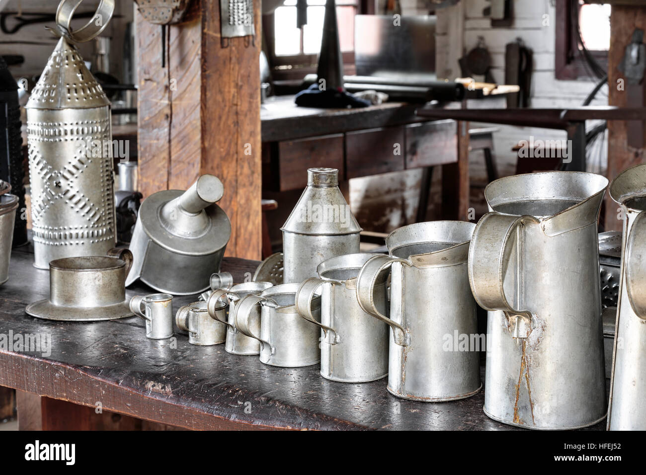 Tin cups, close up view - Stock Image