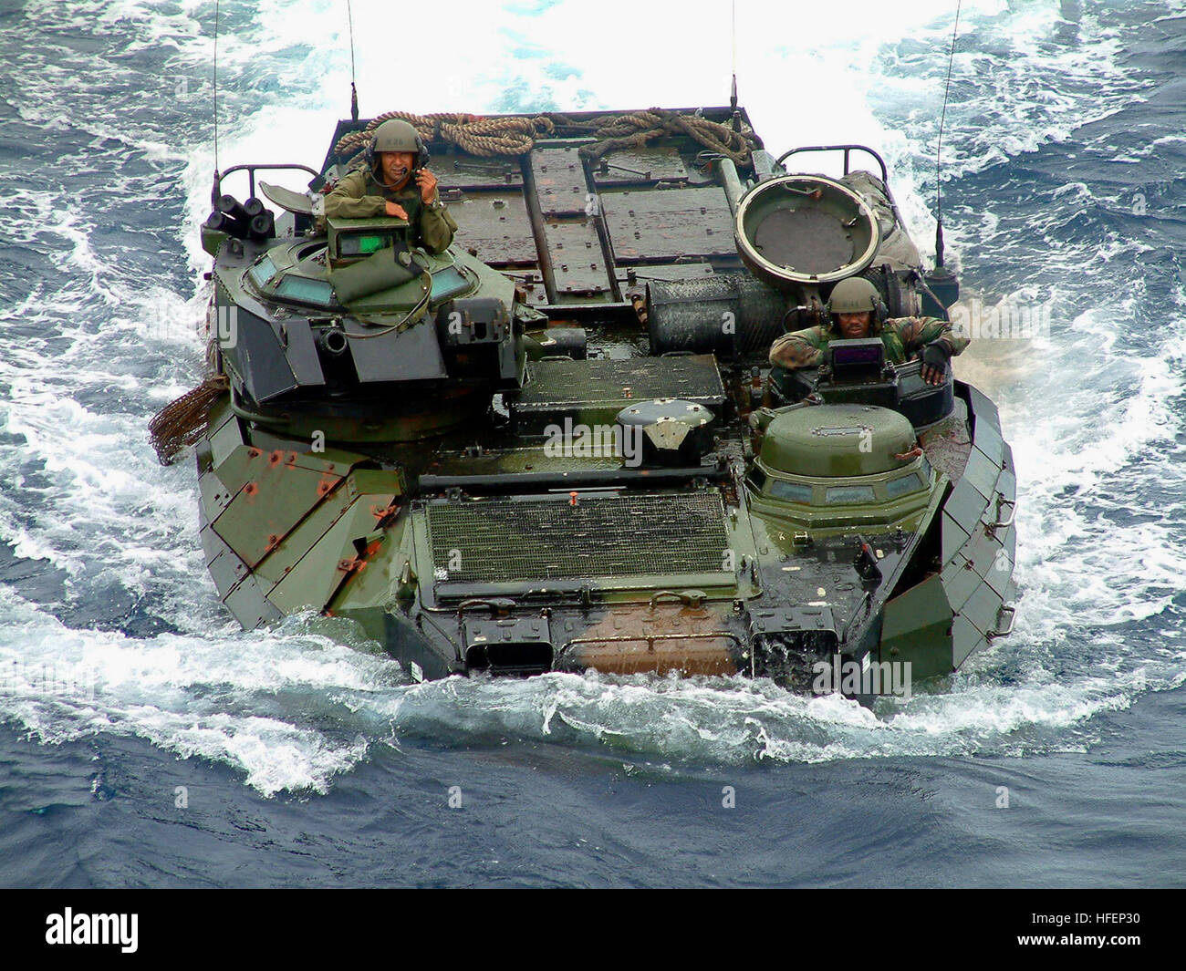 030912-N-8646S-007 Philippine Sea (Sept. 12, 2003) -- An Amphibious Assault Vehicle (AAV) launched from the amphibious Stock Photo