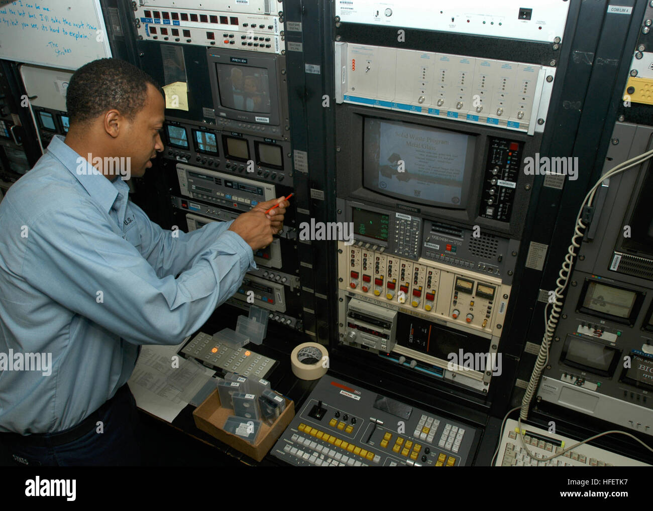 040128-N-5952R-002 Arabian Gulf (Jan. 28, 2004) Ð Interior Communications Electrician Fireman Ledan Sykes from - Stock Image