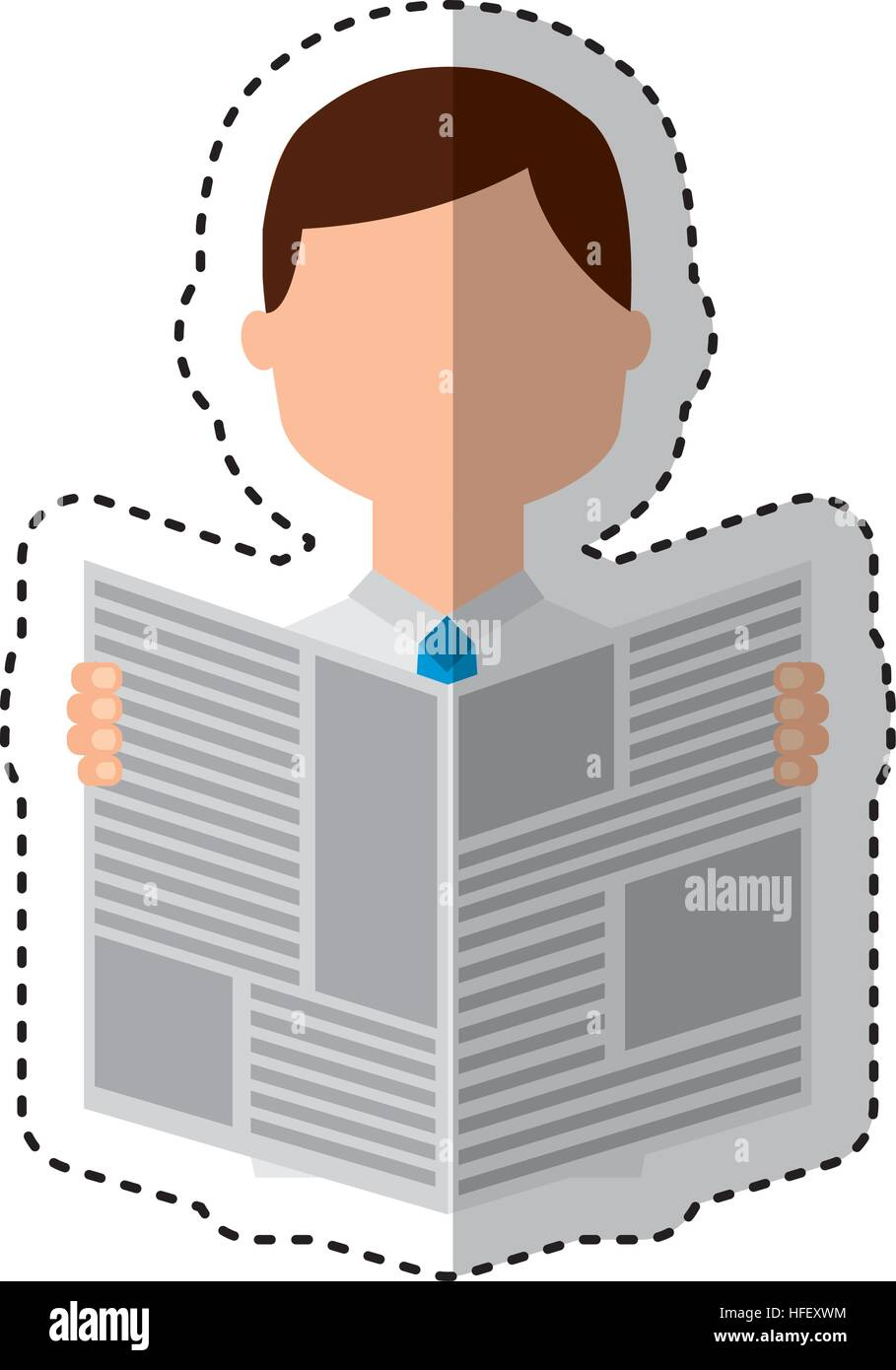 man reading newspaper icon vector illustration design stock vector