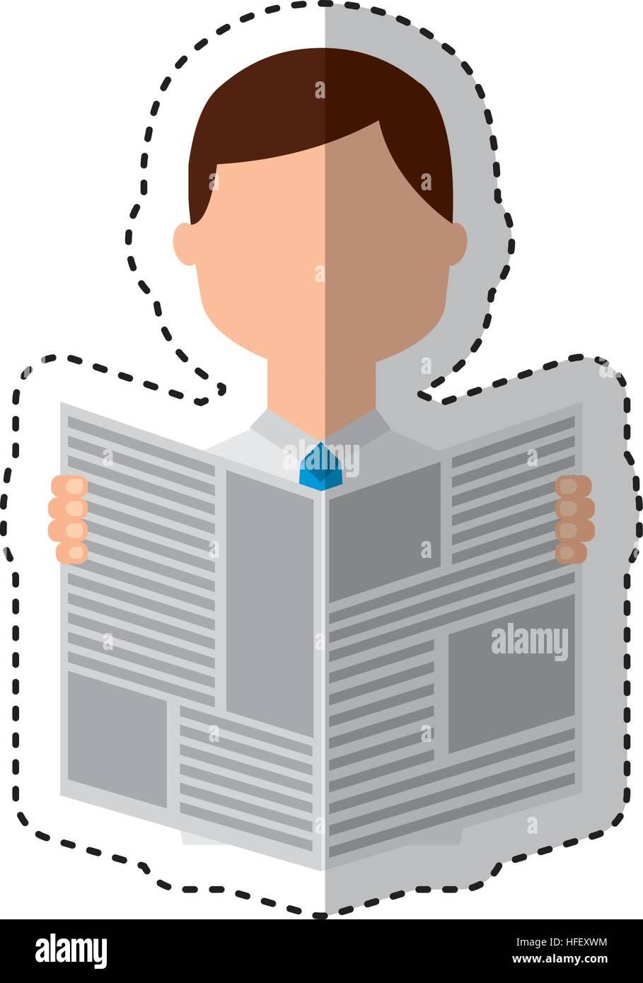 man reading newspaper icon vector illustration design stock vector