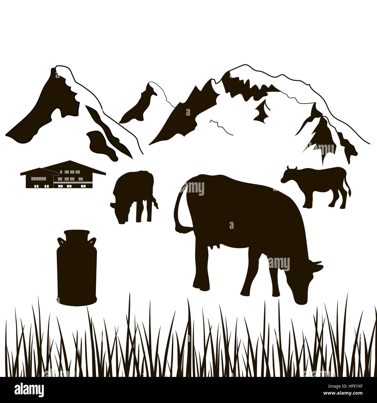 cows,milk can, house on a mountains background - Stock Vector