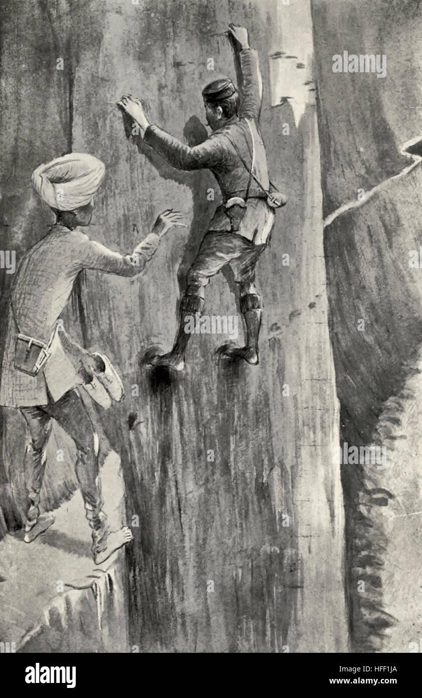 A Perilous Passage - Tibet, circa 1899 Stock Photo