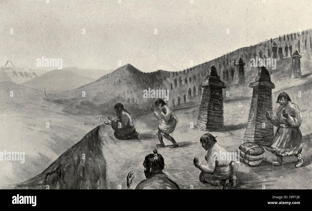 Salaaming Kelas at Lama Chokden, Tibet, circa 1899 - Stock Image