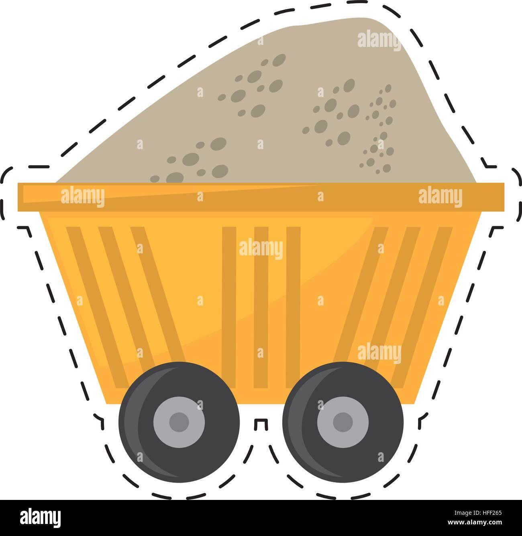 cart train mining full mineral cut line - Stock Image