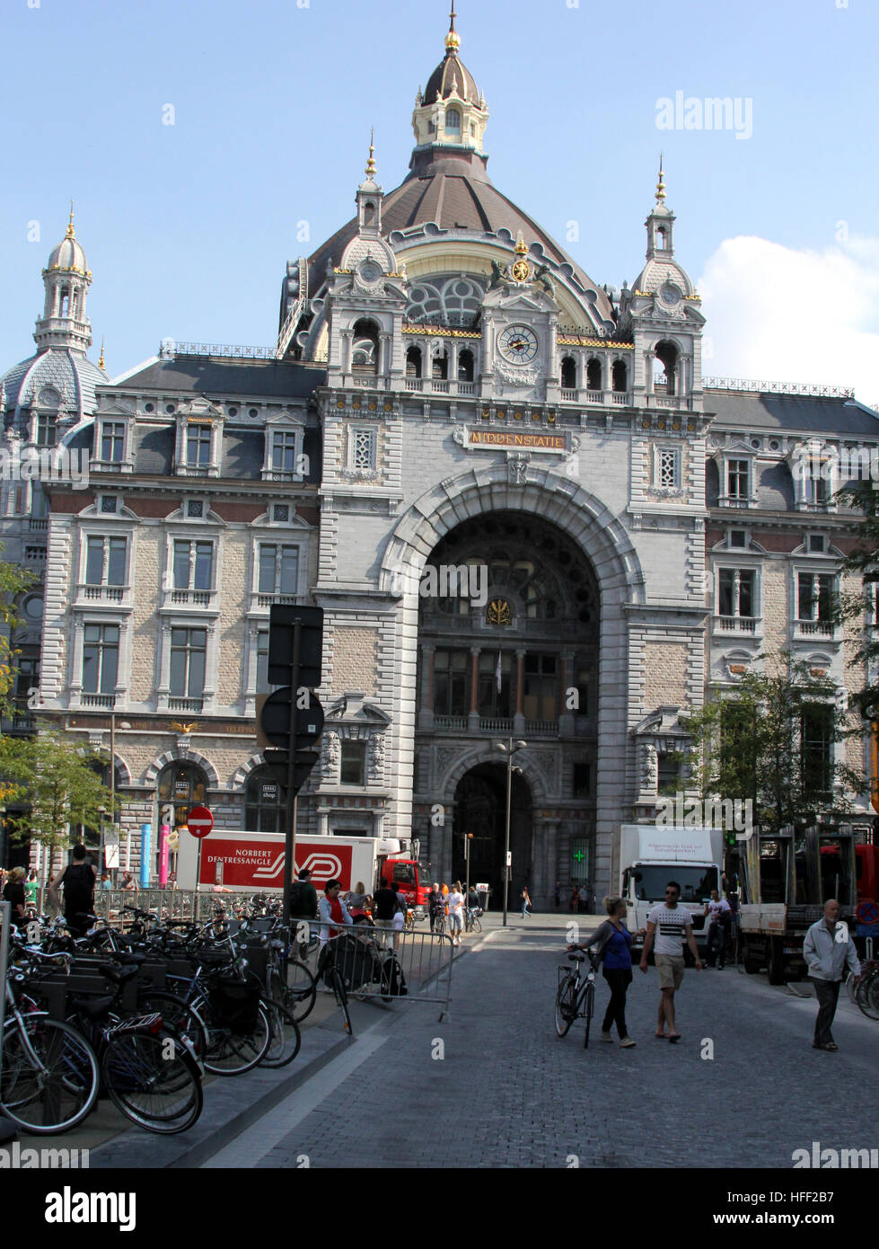 Antwerp's train station is considered one of  finest example of railway architecture in Europe. It was fully restored Stock Photo