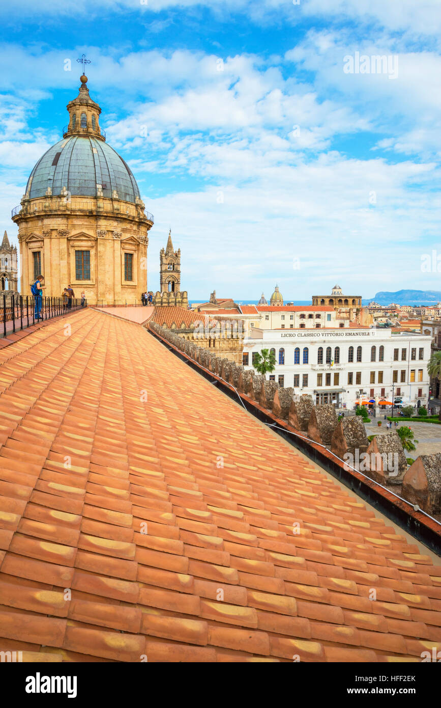 Palermo Cathedral roof and dome, Palermo, Sicily, Italy, Europe, - Stock Image