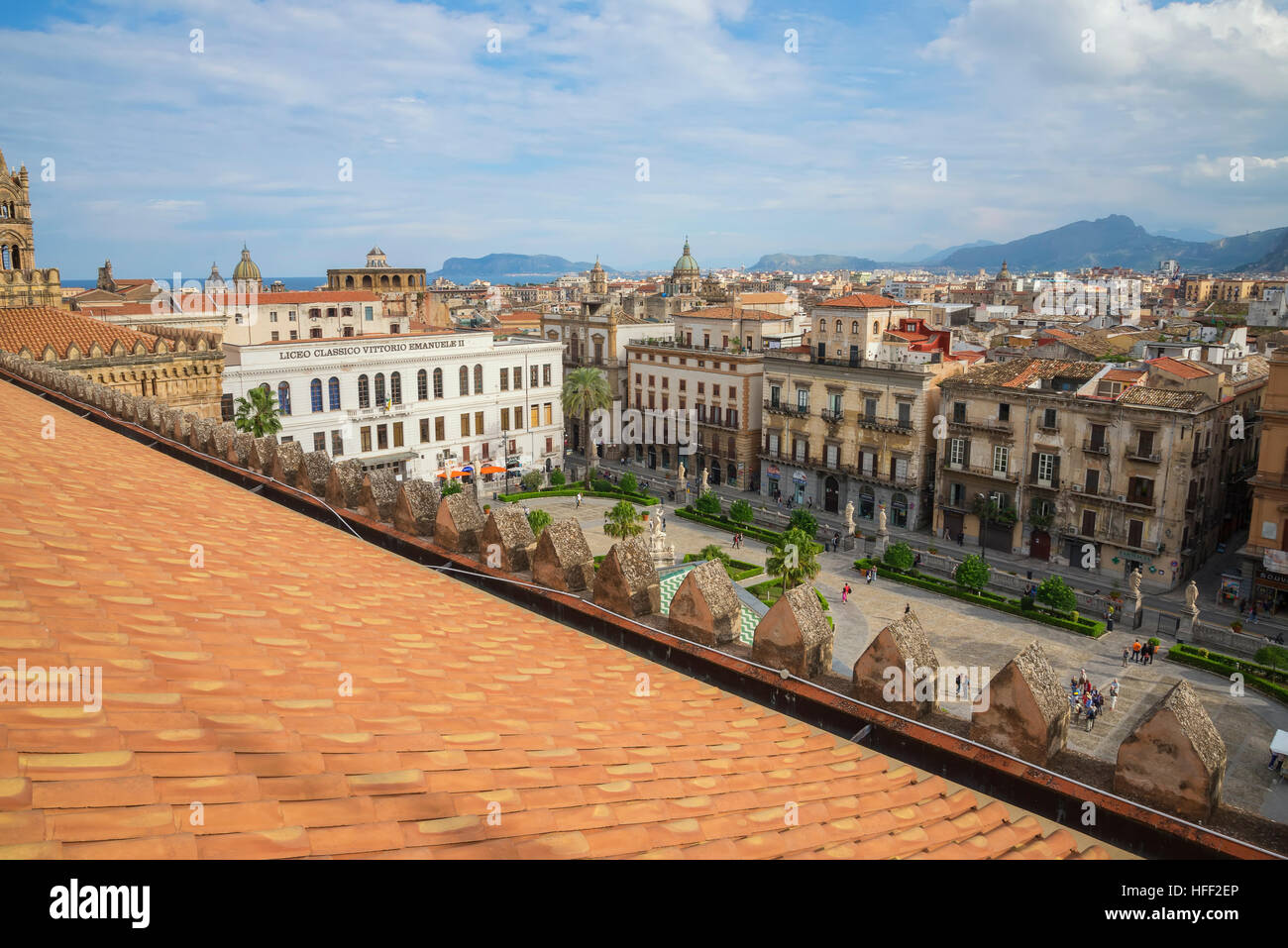 Palermo Cathedral square, Palermo, Sicily, Italy, Europe, - Stock Image