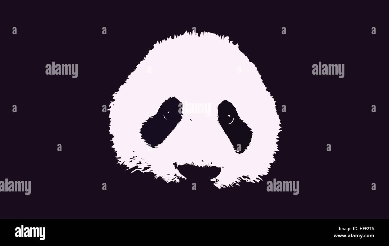 Panda face vector background - Stock Vector