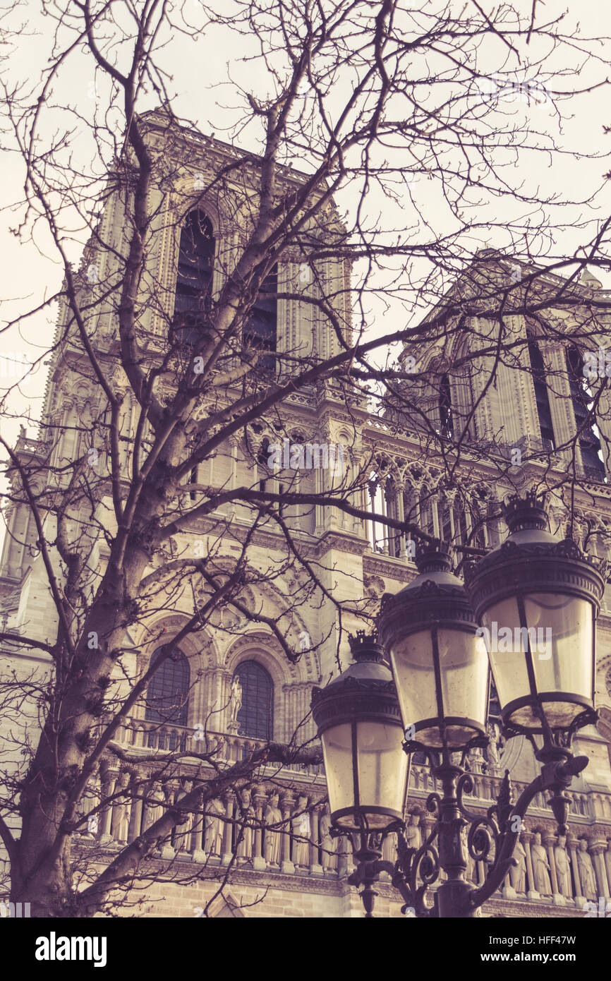 Notre Dame de Paris in France, facade with lamp posts - Stock Image