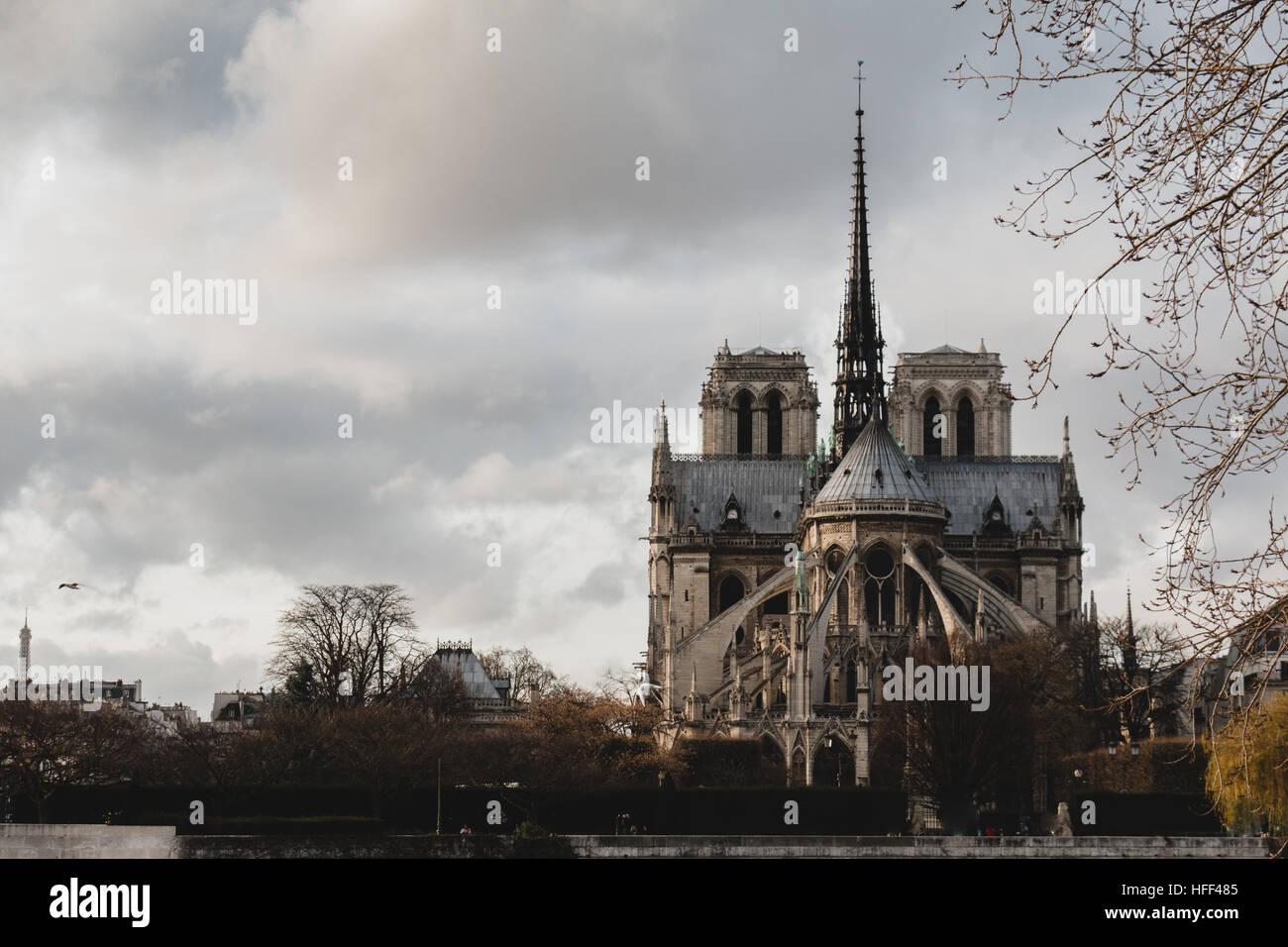 Notre Dame de Paris in Paris France east side - Stock Image