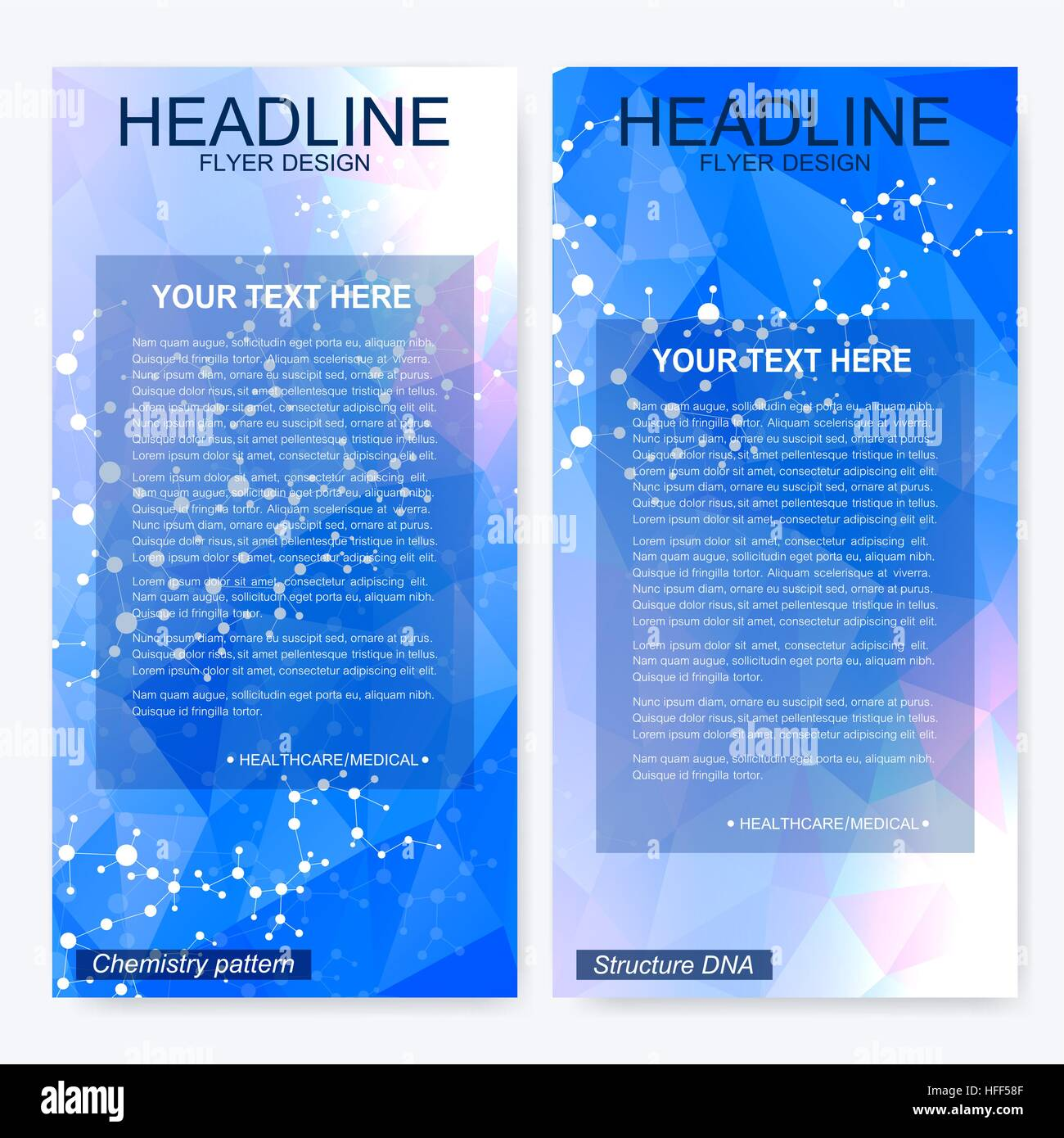 leaflet flyer layout magazine cover corporate identity template science and technology design structure dna chemistry medical background business and