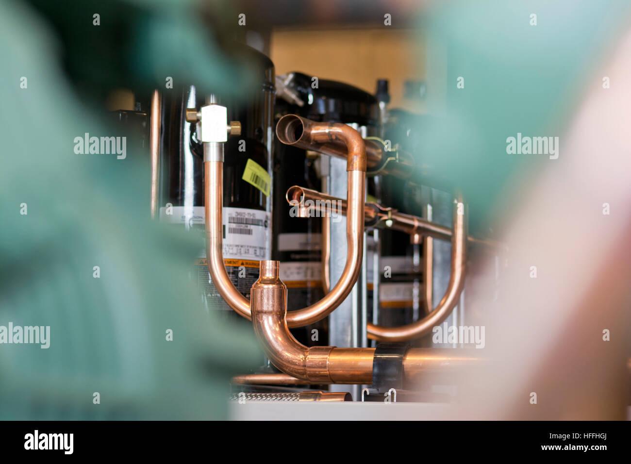 Refrigeration temperature compressors in warehouse Stock Photo