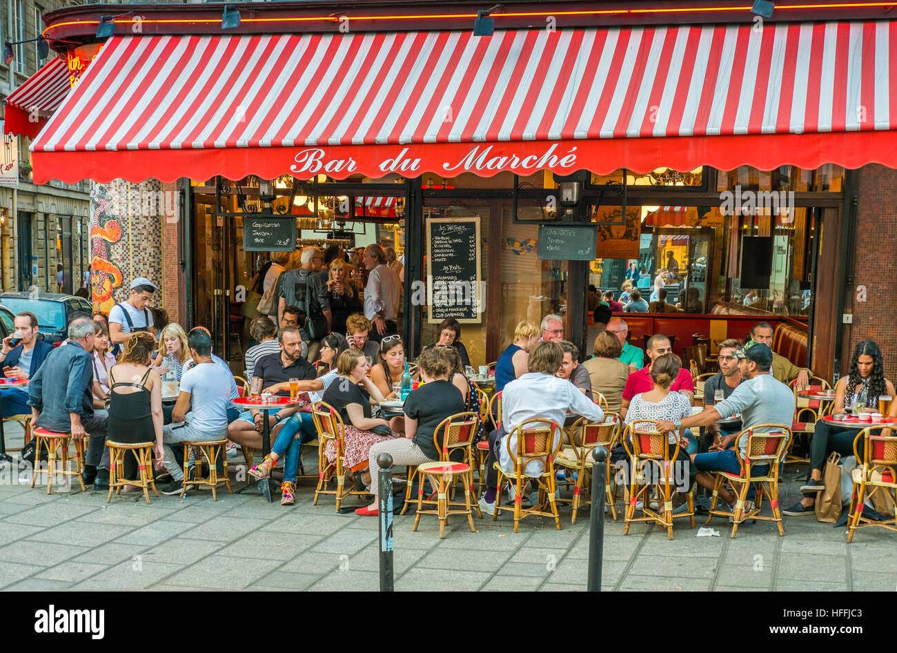 terrace of bar bistrot bar du marché - Stock Image