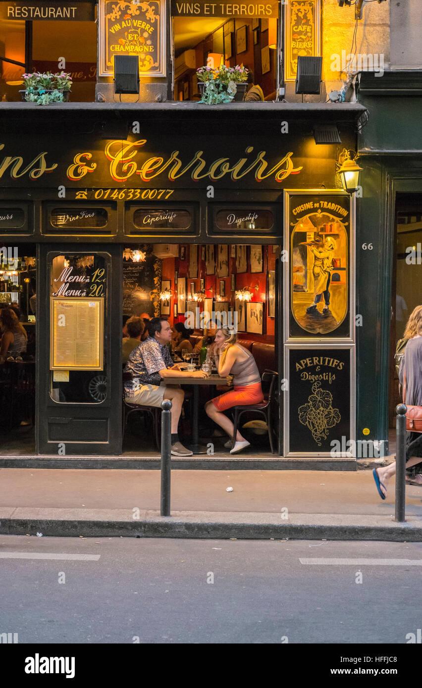 restaurant, bistrot, vins & terroirs - Stock Image
