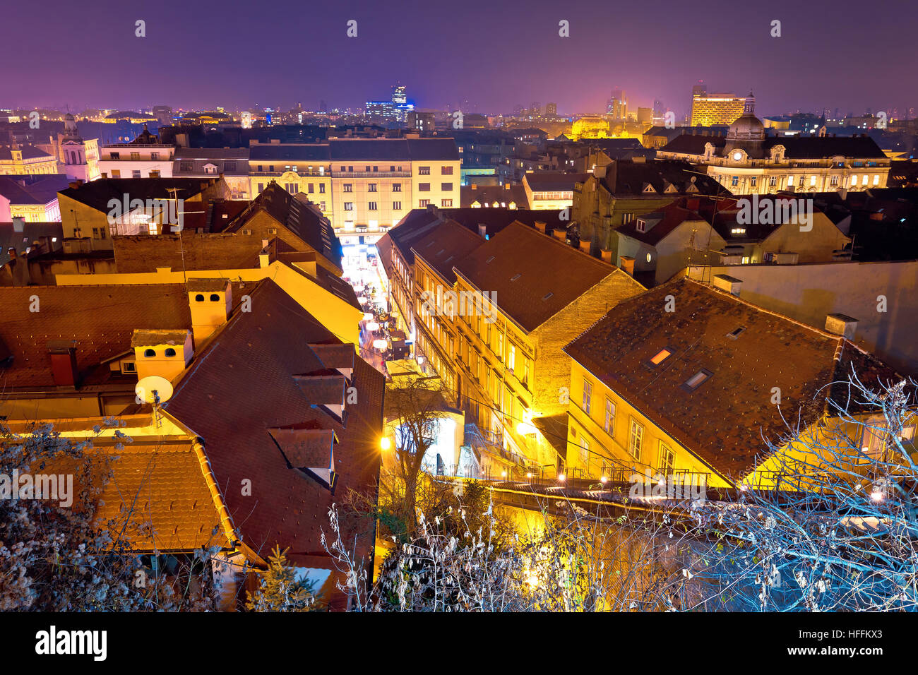 Zagreb rooftops evening advent view, capital city of Croatia - Stock Image