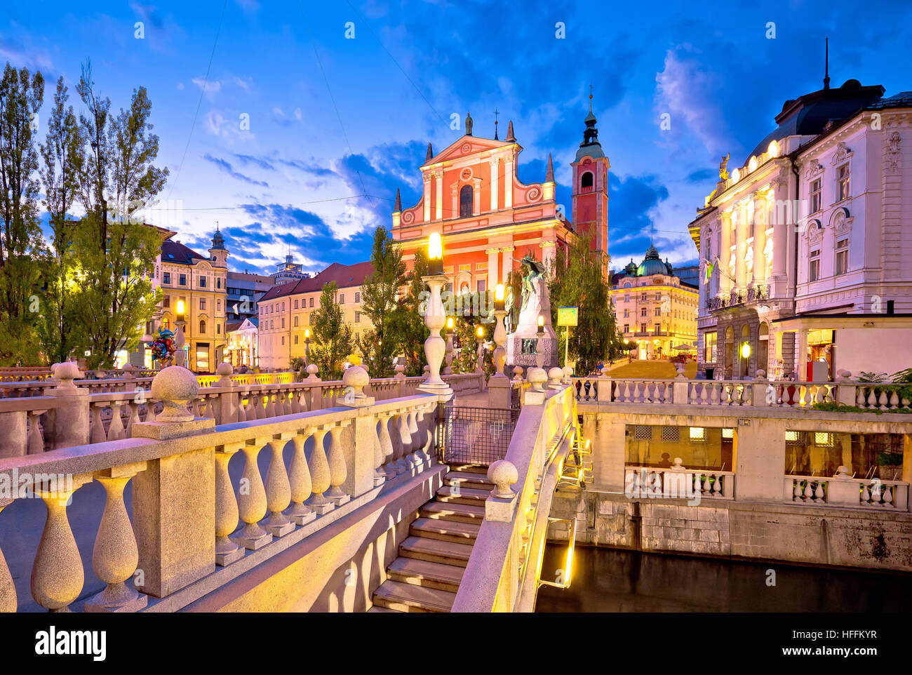 Tromostovje bridge and square evening view, Ljubljana, capital of Slovenia - Stock Image