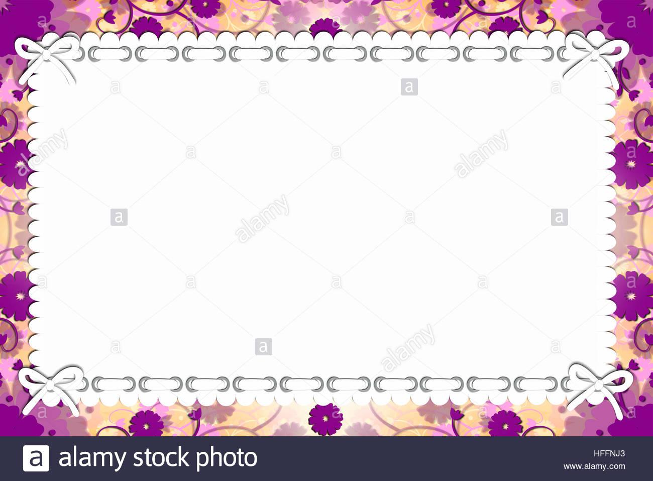 Floral Craft Cute Purple Flowers Top White Paper Elegant Card