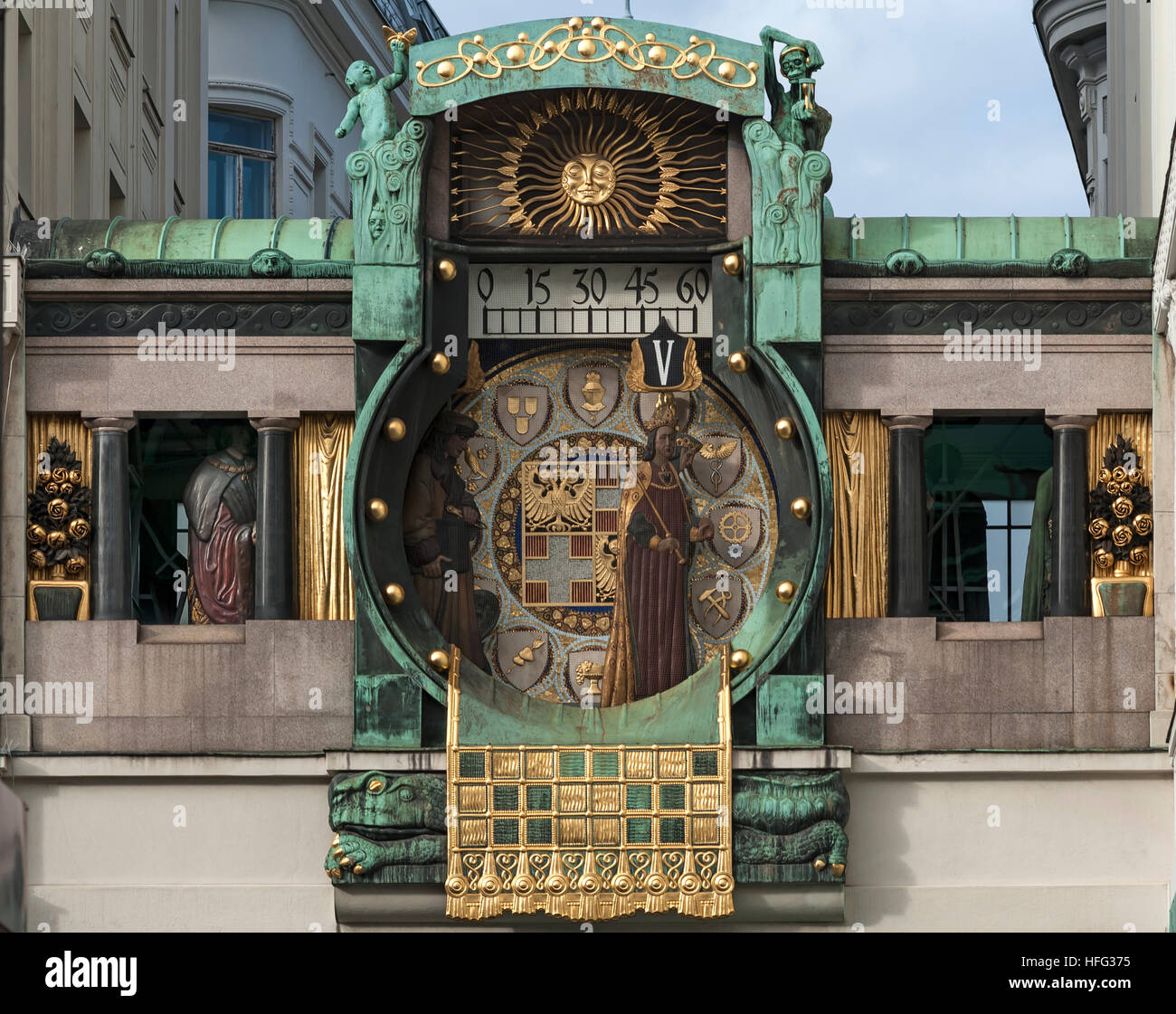 Ankeruhr Clock, large music box, art nouveau, painter, artist, designed by Franz Matsch, inaugurated in 1915, High Stock Photo