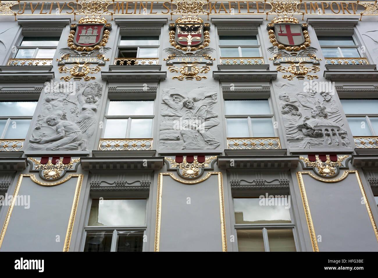Facade with stucco reliefs, home of coffee roaster Julius Meinl, Vienna, Austria - Stock Image