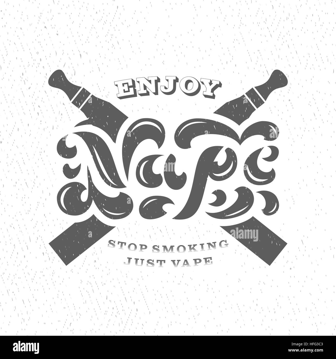 Vape Shop Logotype With Vapor Cloud On White Background. Badge For Electronic Cigarettes Store Advertising Or Window - Stock Image