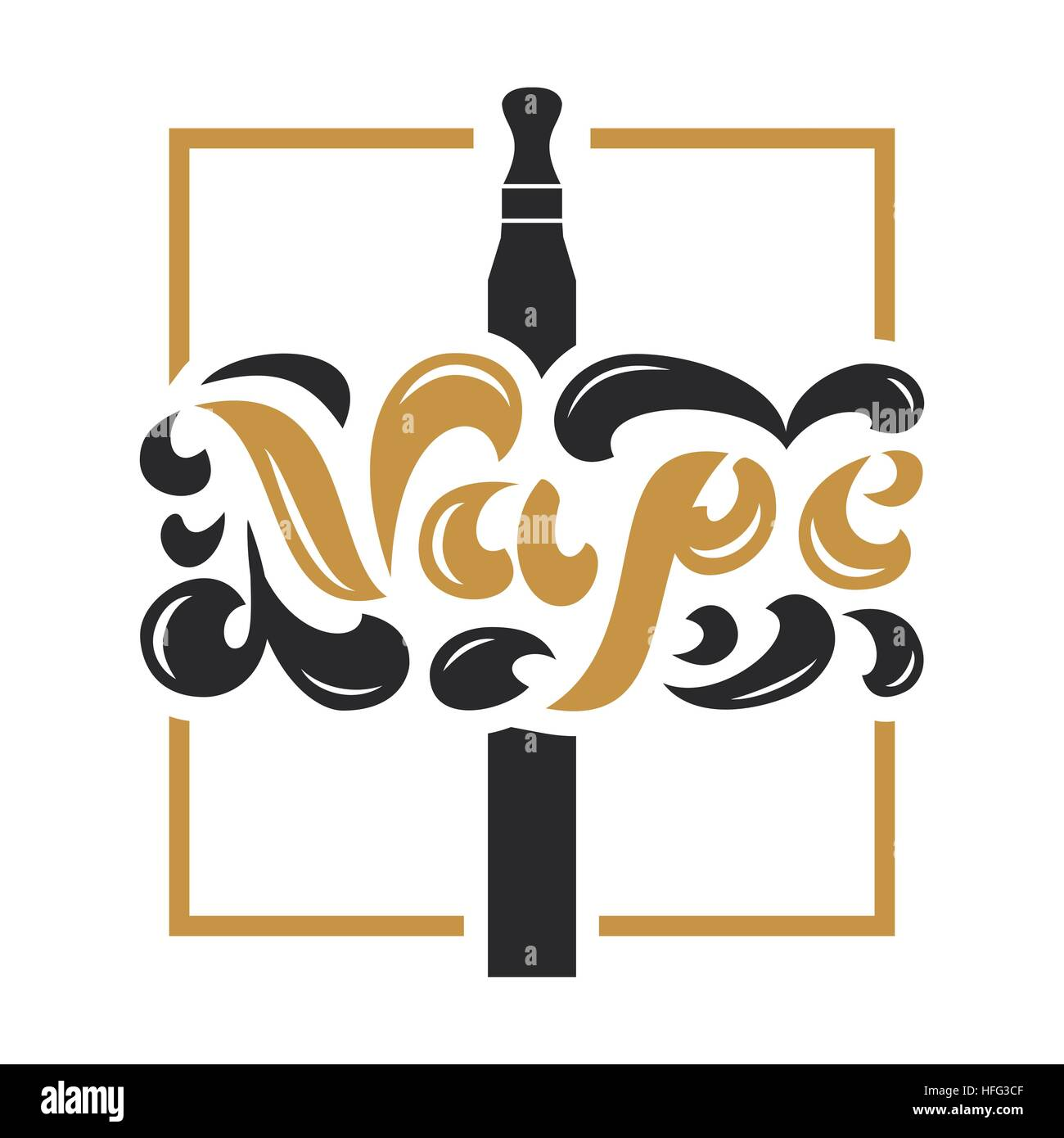 Vape Shop Logotype With Vapor Cloud On White Background. Vintage Design Element For Sign, Show-Window, Flyer, Banner, Stock Vector
