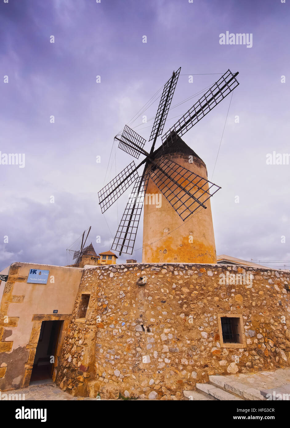 Windmill, Palma de Mallorca, La Palma, Balearic Islands, Spain - Stock Image