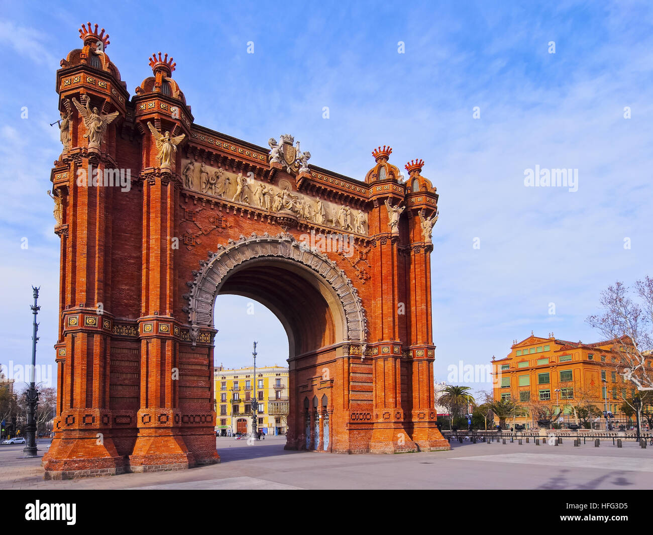 Arc de Triomf, Arco de Triunfo, Triumphal Arch, Barcelona, Catalonia, Spain Stock Photo