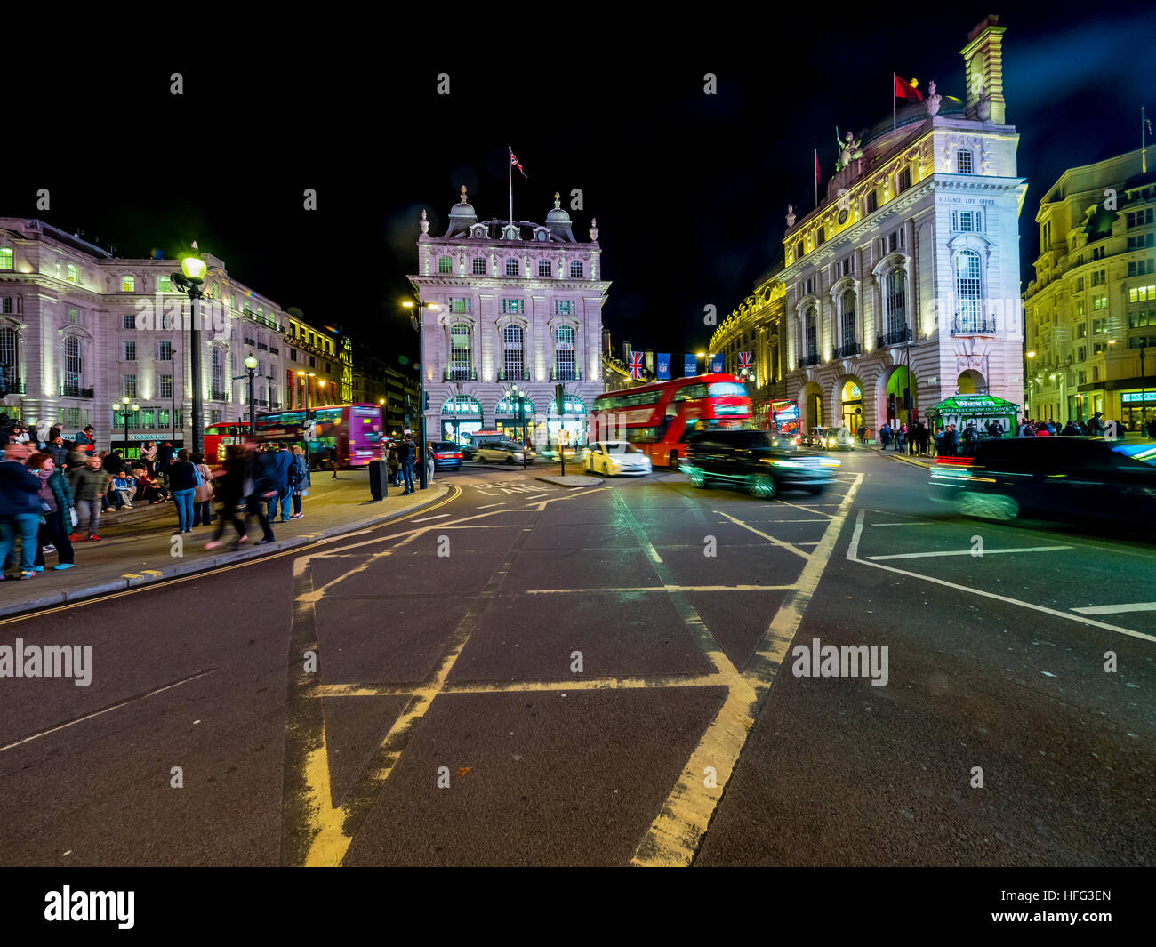 Traffic, Piccadilly Circus, night, London, England, United Kingdom - Stock Image