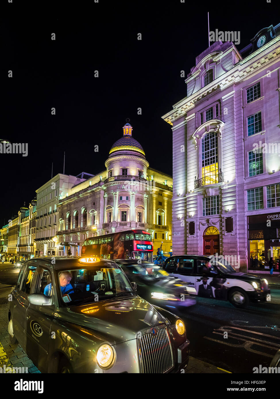 Piccadilly Circus, Regent Street, taxi at night, London, England, United Kingdom Stock Photo
