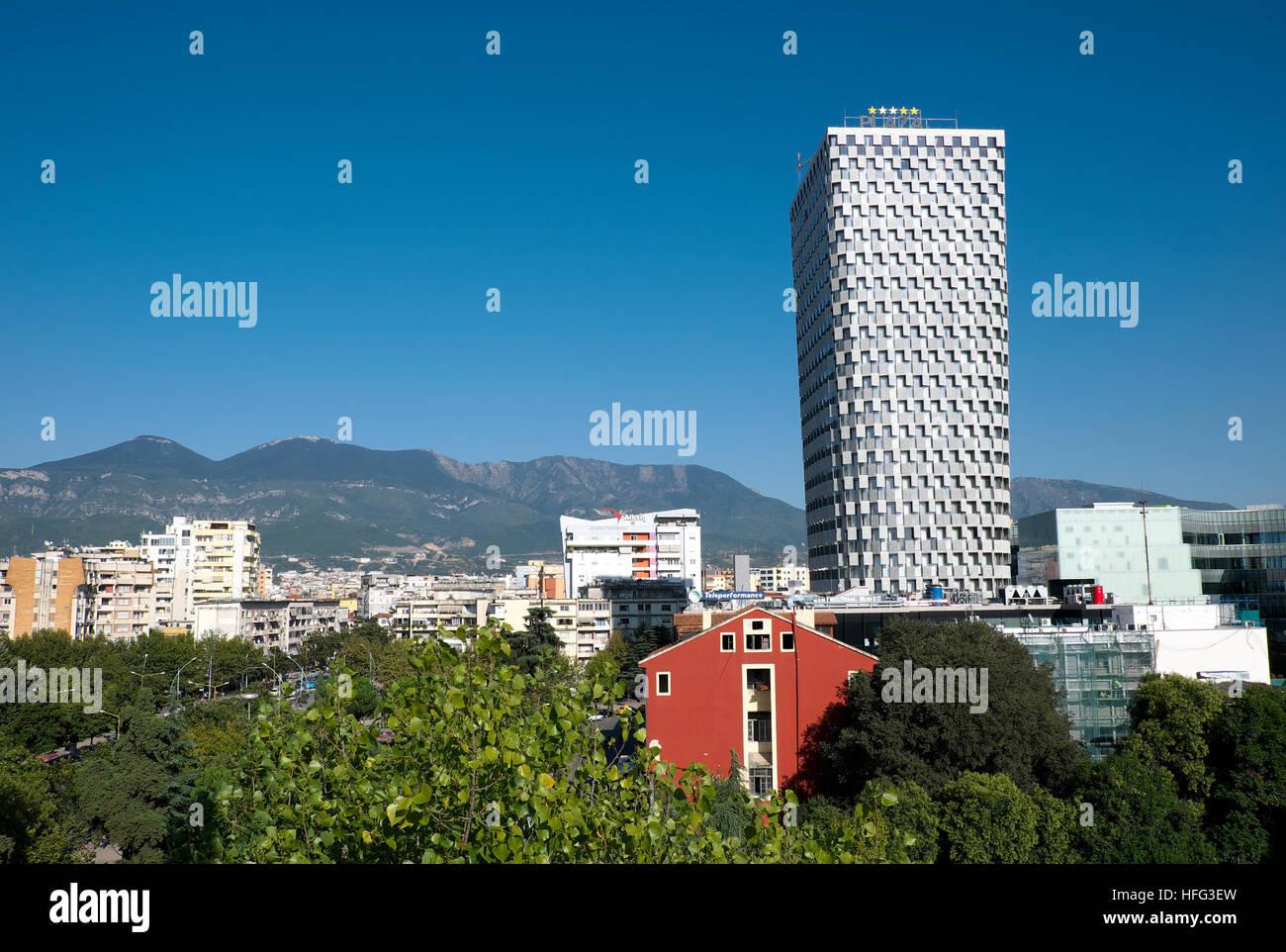 Cityscape with Plaza Tirana Hotel, Tirana, Albania - Stock Image
