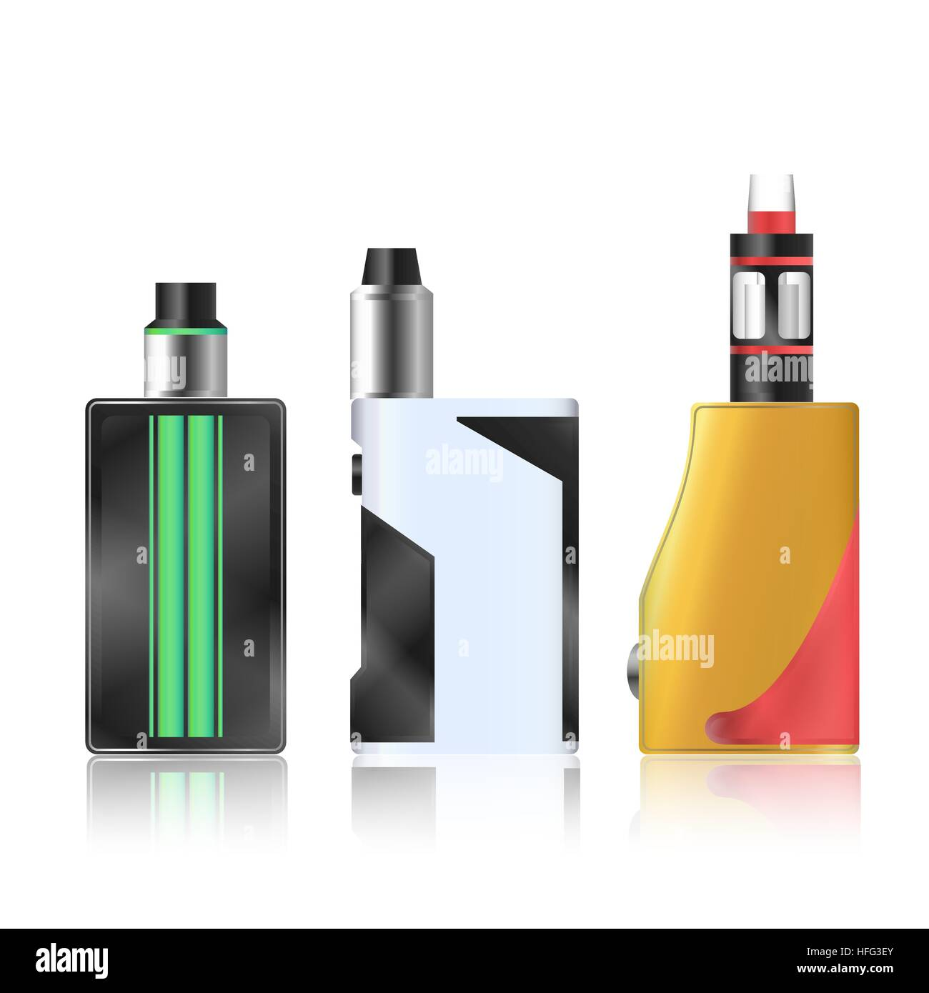 Vape Mod Set. Electronic Cigarette With Juice. Colorful Vector Vaporize Device With Liquid Bottles On White Background. - Stock Image