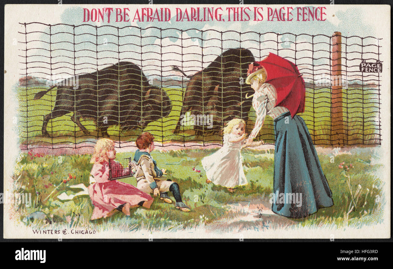 Agriculture Trade Cards - Don't be afraid darling. This is Page fence - Stock Image