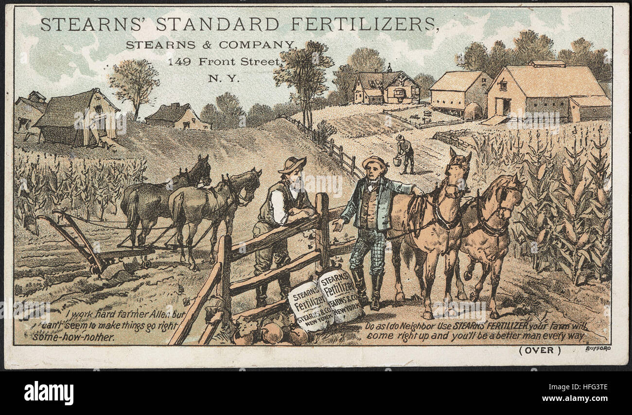 Agriculture Trade Cards - Stearns' standard fertilizers - Stock Image