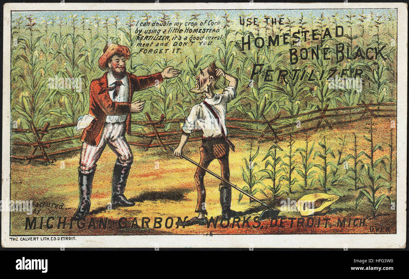Agriculture Trade Cards - Use the Homestead Bone Black Fertilizer - Stock Image