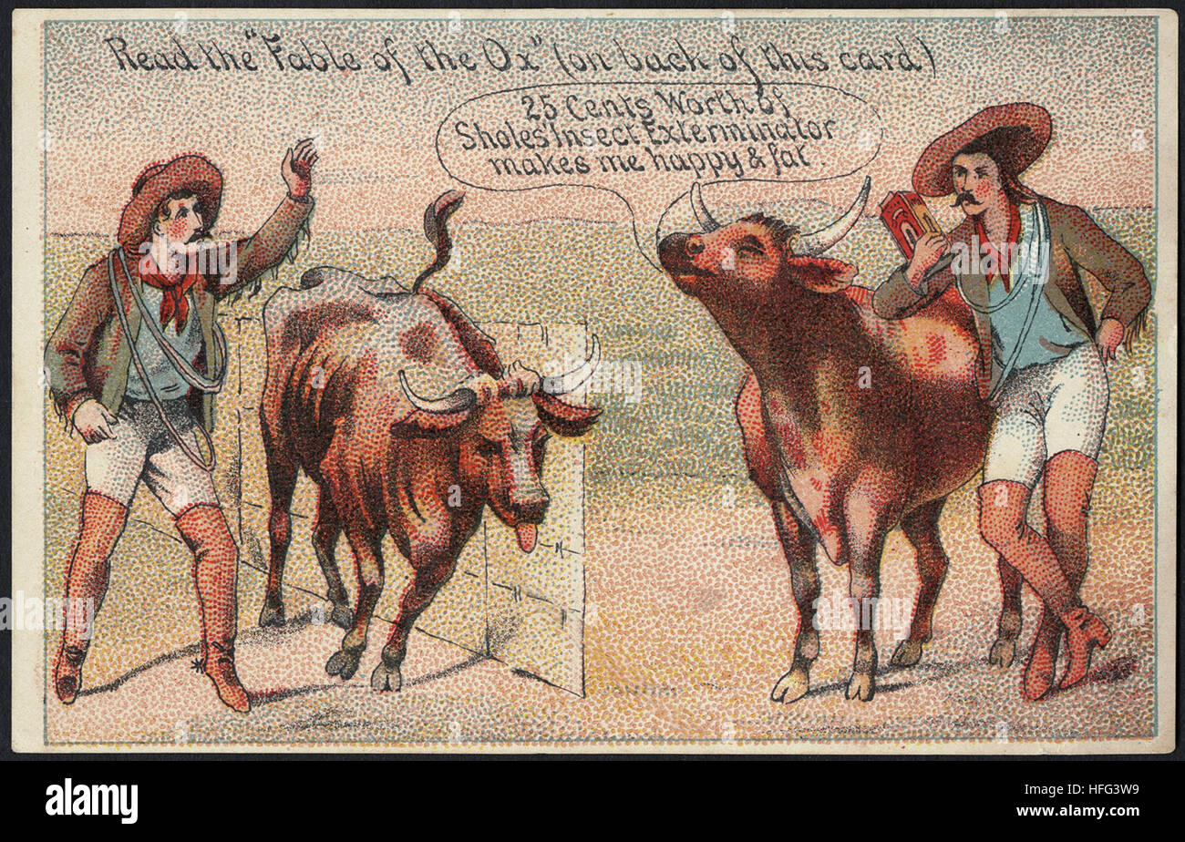 Agriculture Trade Cards - Read the 'Fable of the Ox' (on back of this card.) 25 cents worth of Sholes' - Stock Image