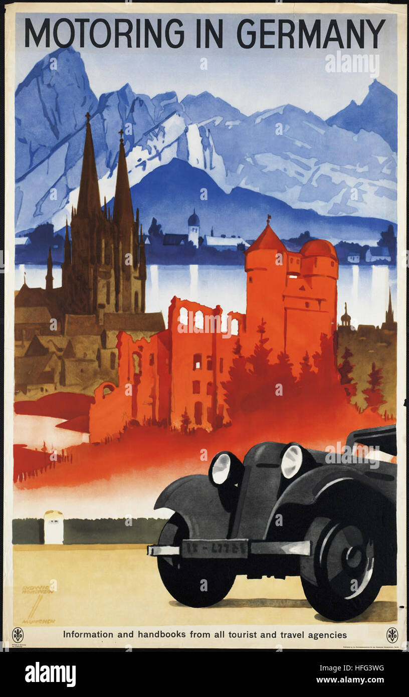 Vintage Travel Poster - Motoring in Germany - Stock Image