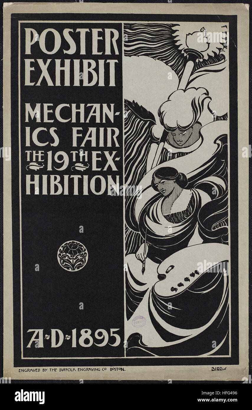 Poster exhibit, Mechanics Fair, the 19th exhibition, A.D. 1895 - Stock Image